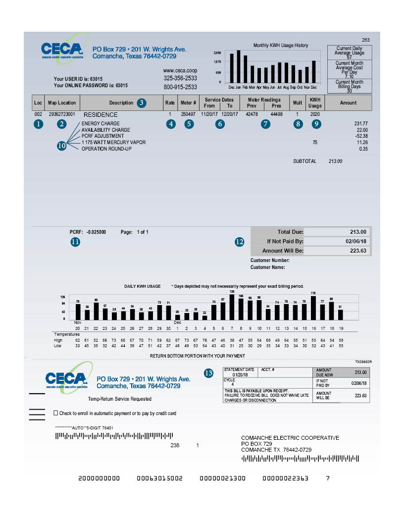 Sample CECA Bill image